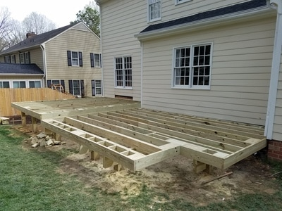 deck joists installed over beams
